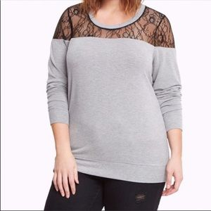 Torrid lace inset sweater